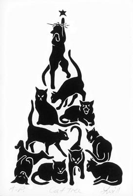 cat tree christmas tree 18 dec 2011 linocut - Black Cat Christmas Tree
